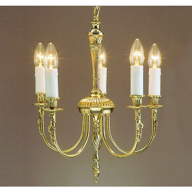 Impex Richmond Chandelier - 5 Light, Polished Brass