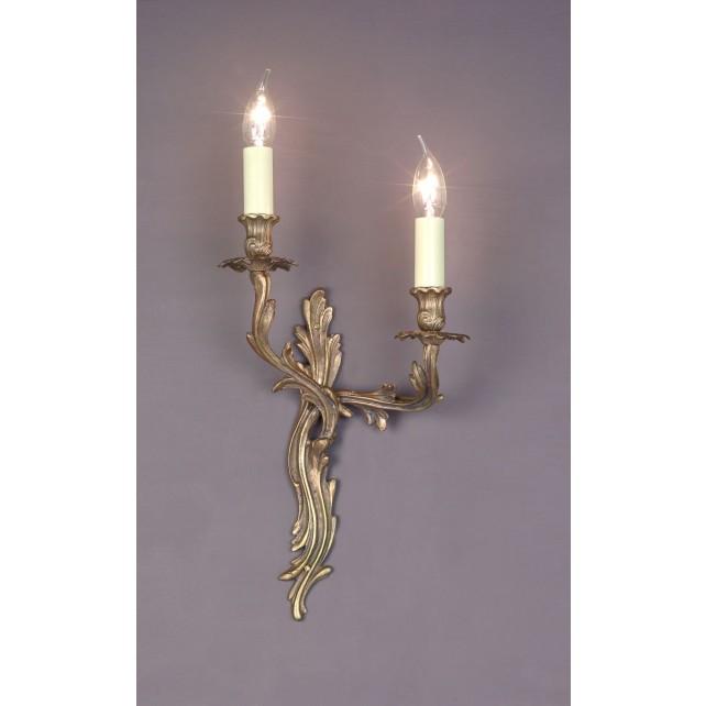 Impex Louis Wall Light - 2 Light, Brass Plate & Gold Plate