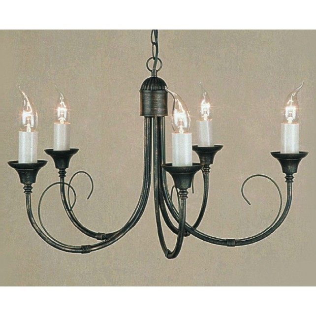 Impex Classica Chandelier - 5 Light, Black Gold & Black Silver