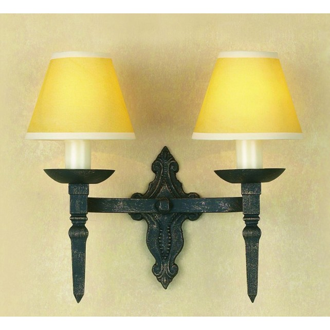 Impex Baronial Wall Light Black Gold - 2 Light