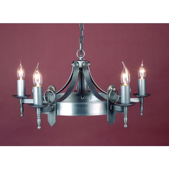 Impex Mitre Chandelier Sterling - 5 Light, Satin Chrome & Nickel