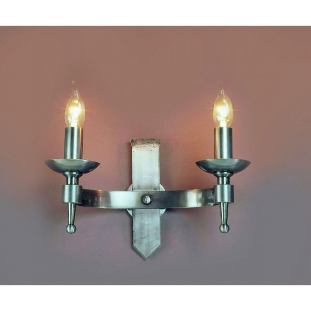 Impex Saxon Wall Light Sterling - 2 Light