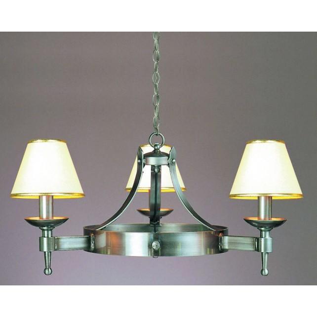 Impex Saxon Chandelier Sterling - 3 Light, Satin Chrome & Nickel