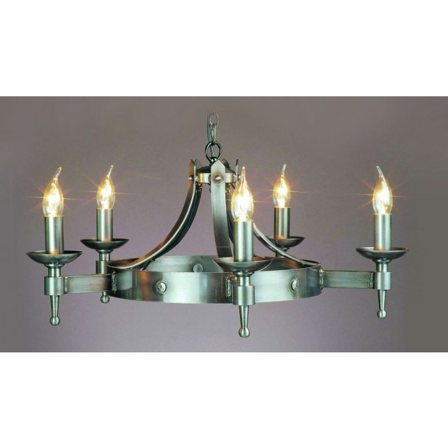 Impex Saxon Chandelier Sterling - 5 Light, Satin Chrome & Nickel
