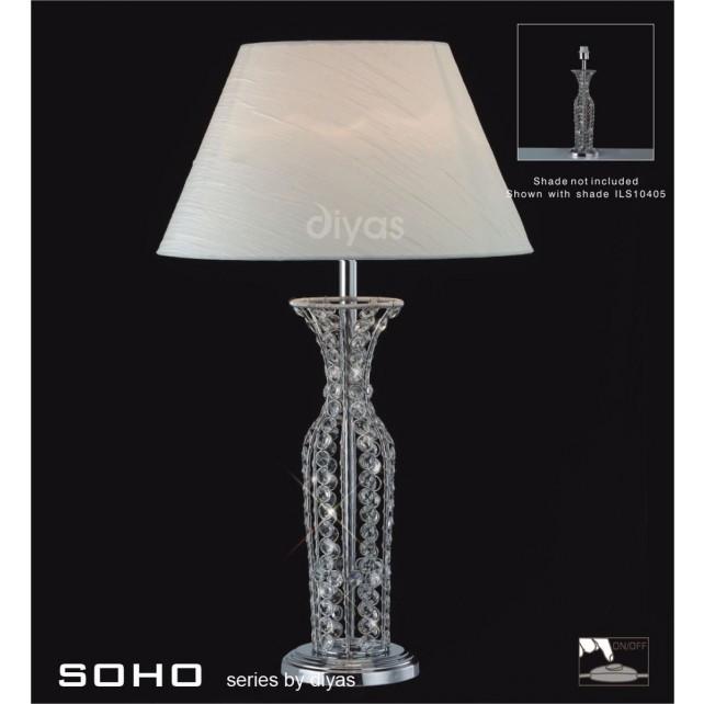 Diyas Soho Table Lamp 1 Light Polished Chrome/Crystal Tall