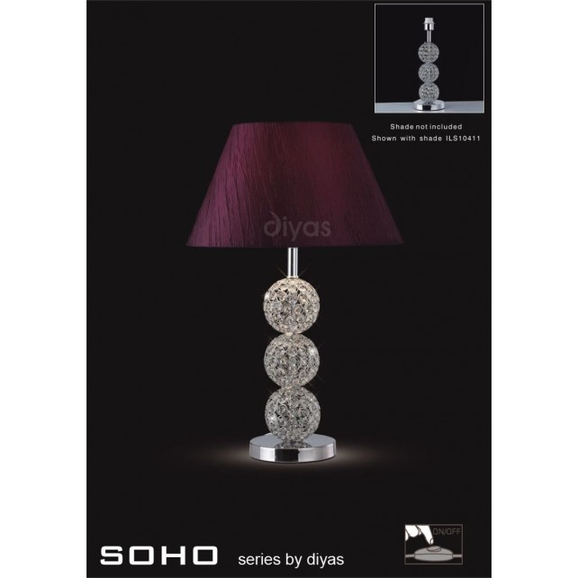 Diyas Soho Table Lamp 1 Light Polished Chrome/Crystal Short
