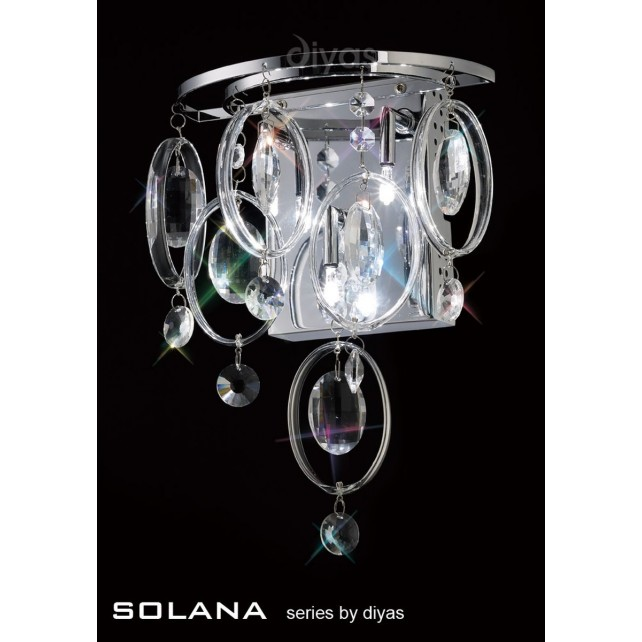 Diyas Solana Wall Lamp 3 Light Polished Chrome/Crystal