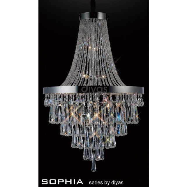 Diyas Sophia Pendant 17 Light Chrome/Crystal