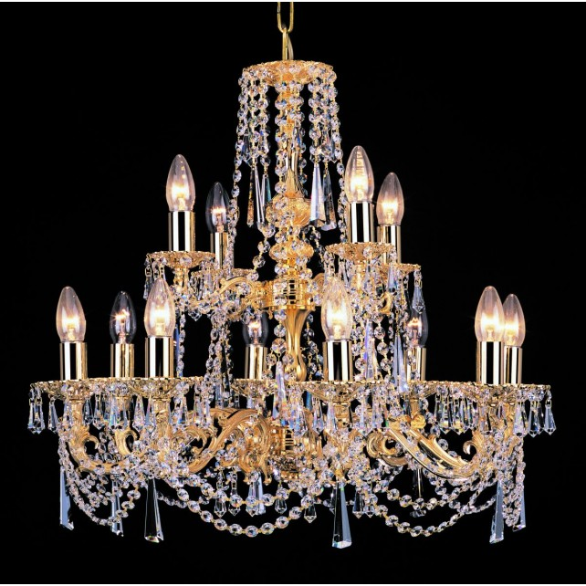 Impex Stuttgart Chandelier - 12 Light, Brass Plate & Gold Plate