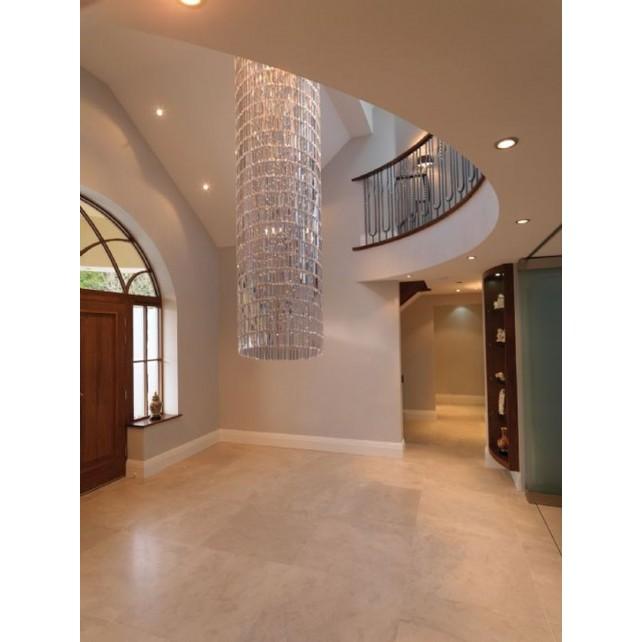 Impex Crystal Art Ceiling Light 31cm Dia - 2 Metre Drop Chrome