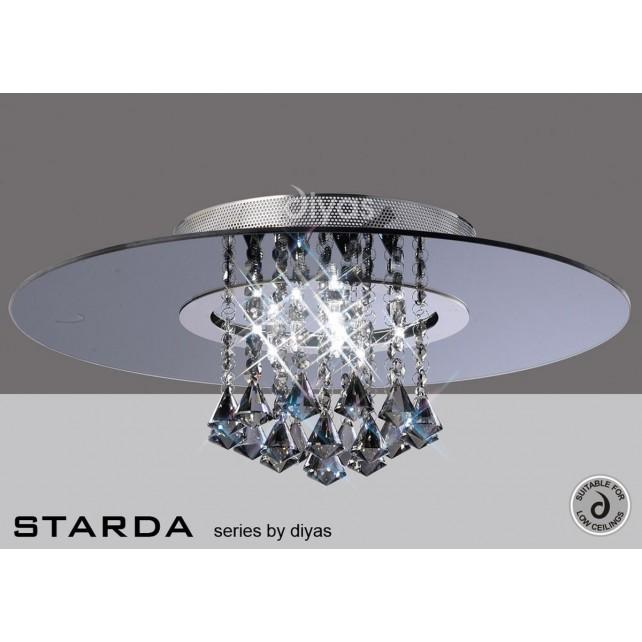 Diyas Starda Ceiling 8 Light Round Polished Chrome/Smoked Mirror/Smoked Crystal