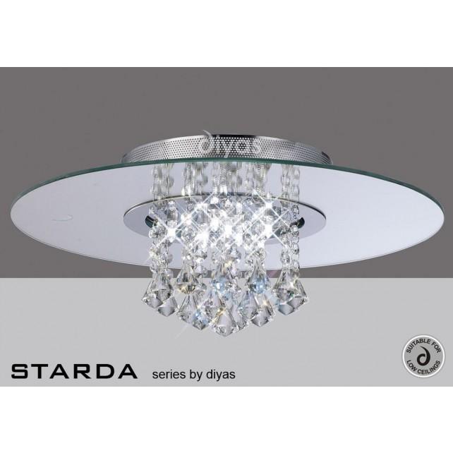 Diyas Starda Ceiling 8 Light Round Polished Chrome/Crystal