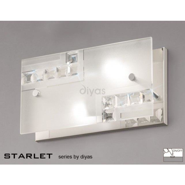 Diyas Starlet Wall Lamp Switched 2 Light Chrome/Crystal