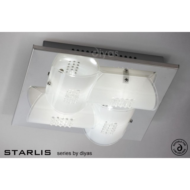 Diyas Starlis Ceiling 4 Light Chrome/Crystal