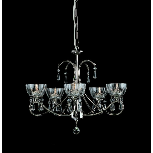 Impex Vincenza Chandelier Nickel - 5 Light