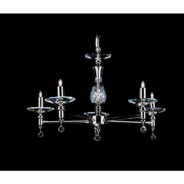 Impex San Marino Chandelier - 5 Light, Satin Chrome & Nickel