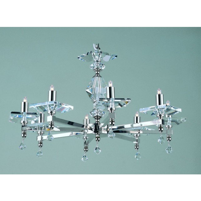 Impex Capri Chandelier - 8 Light, Satin Chrome & Nickel
