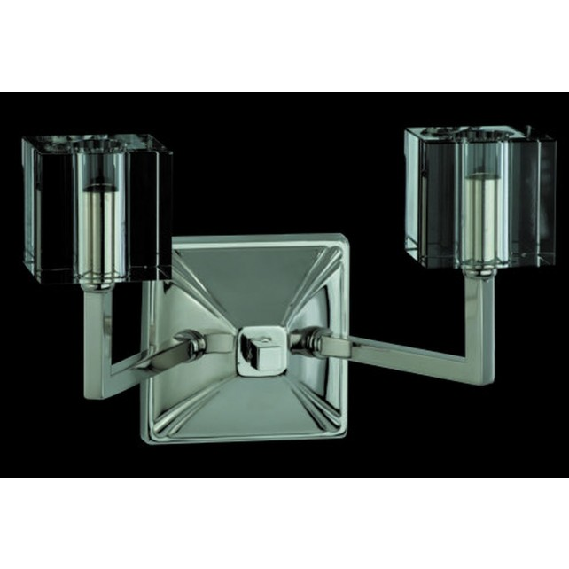 Impex Cube Wall Light - 2 Light, Satin Chrome & Nickel