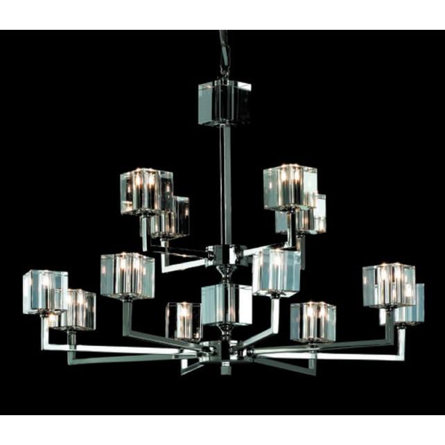 Impex Cube Chandelier - 12 Light, Satin Chrome & Nickel