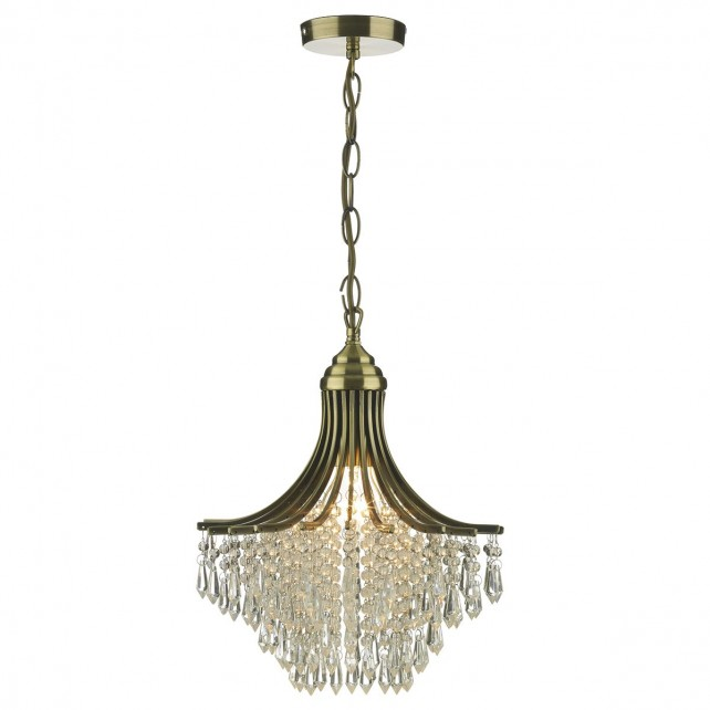 Suri Ceiling Light - Crystal Decoration in Antique Brass