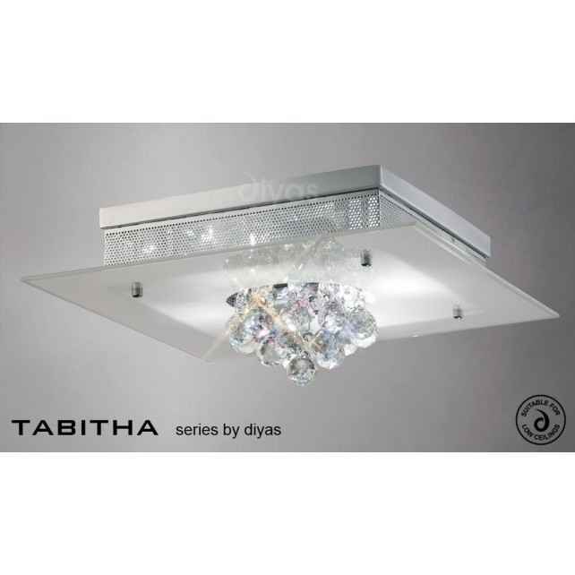 Diyas Tabitha Ceiling 4 Light Polished Chrome/Crystal