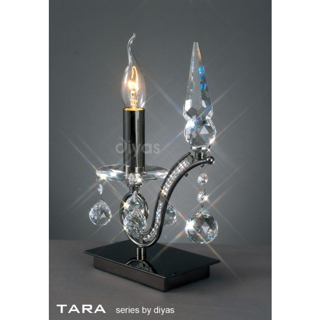 Diyas Tara Table Lamp 1 Light Polished Black Chrome/Crystal