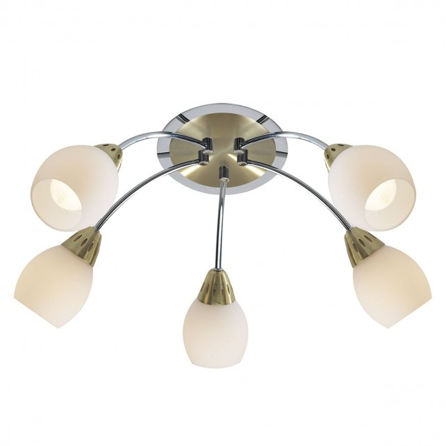 Tempo Ceiling Light - 5 Light Sat Brass/Pol Chrome