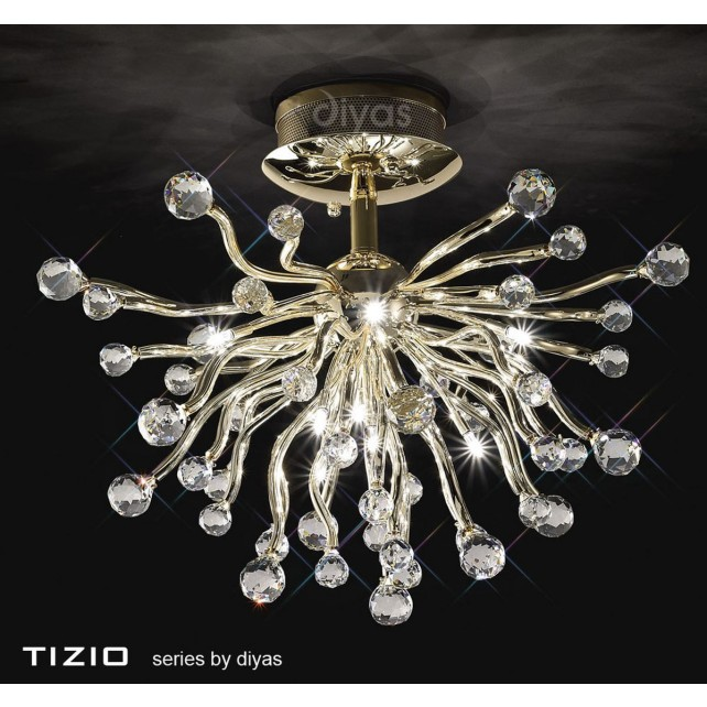Diyas Tizio Ceiling 10 Light Gold/Crystal