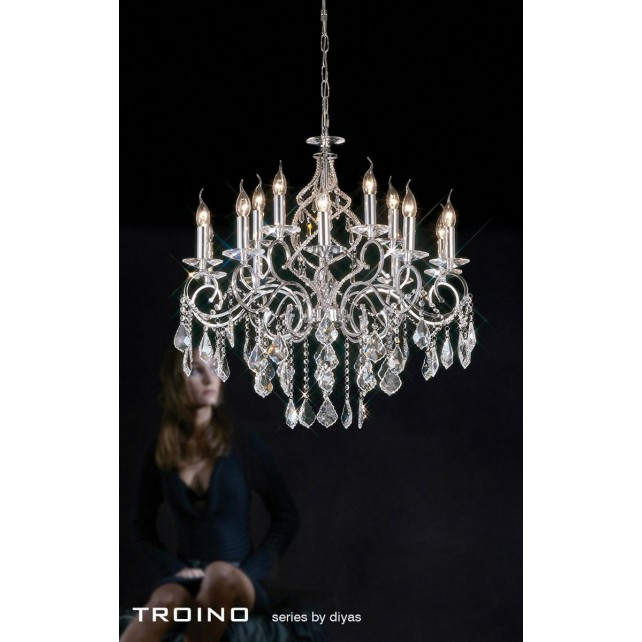 Diyas Torino Pendant 15 Light Round Polished Chrome/Crystal