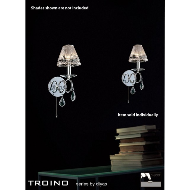 Diyas Torino Wall Lamp 1 Light Polished Chrome/Crystal