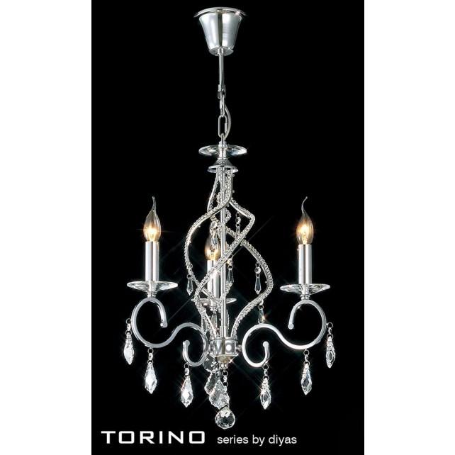 Diyas Torino Pendant 3 Light Round Polished Chrome/Crystal