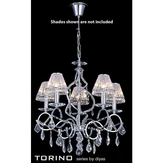 Diyas Torino Pendant 5 Light Round Polished Chrome/Crystal