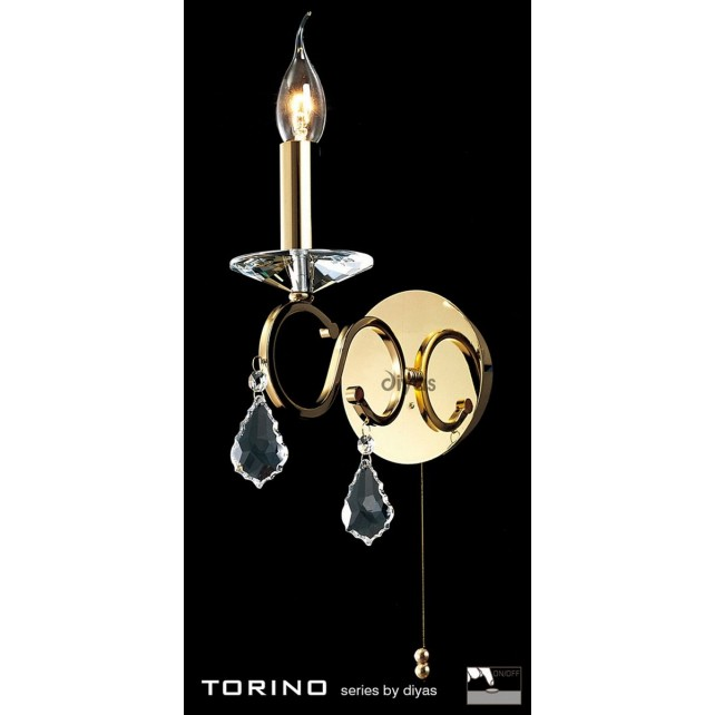 Diyas Torino Wall Lamp 1 Light Polished Gold Plated/Crystal