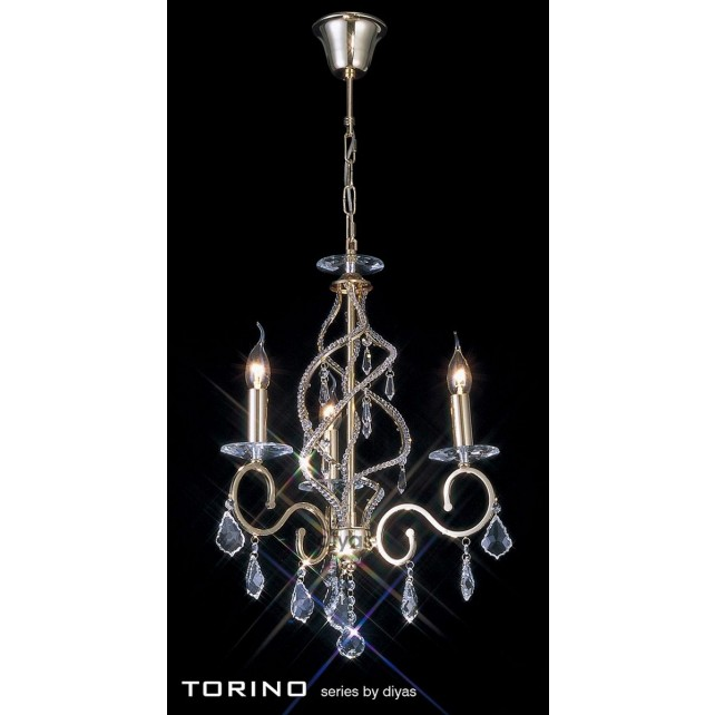 Diyas Torino Pendant 3 Light Round Polished Gold Plated/Crystal