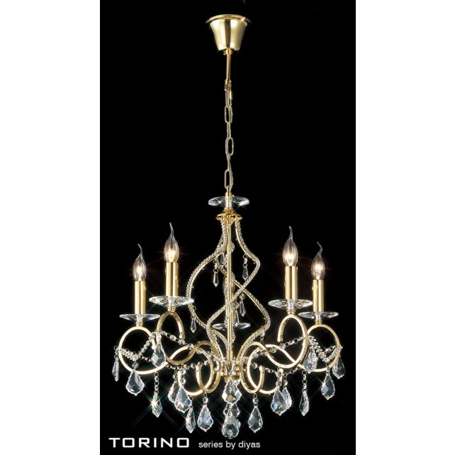 Diyas Torino Pendant 5 Light Round Polished Gold Plated/Crystal
