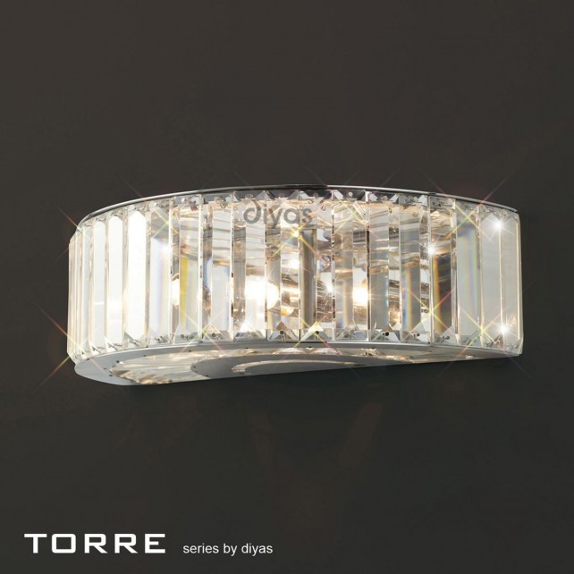 Diyas Torre Wall Lamp 3 Light Polished Chrome/Crystal