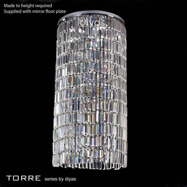 Diyas Torre Pendant 6 Light Polished Chrome/Crystal