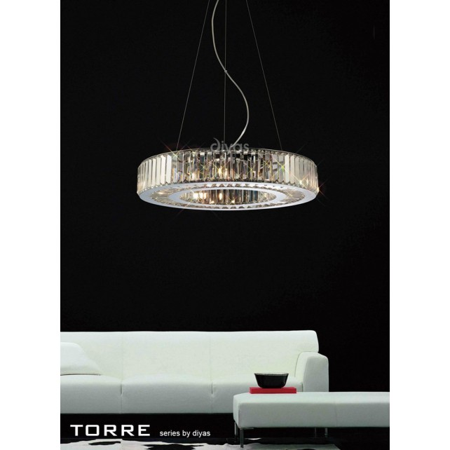 Diyas Torre Pendant 9 Light Polished Chrome/Crystal