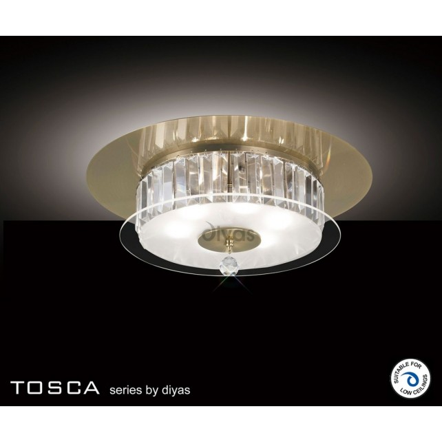 Diyas Tosca Ceiling Round 6 Light Antique Brass/Crystal