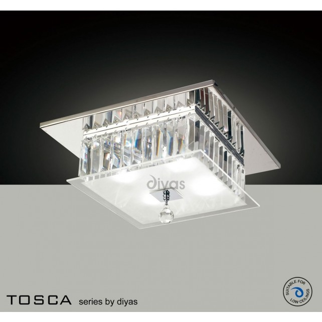 Diyas Tosca Ceiling Square 4 Light Polished Chrome/Crystal