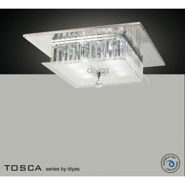 Diyas Tosca Ceiling Square 6 Light Polished Chrome/Crystal