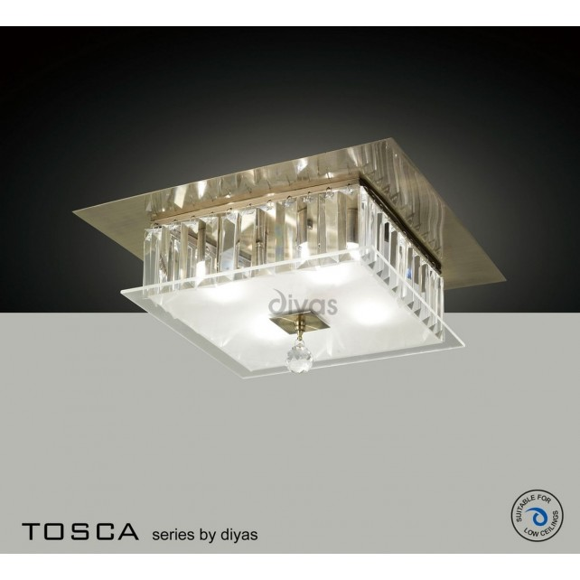 Diyas Tosca Ceiling Square 4 Light Antique Brass/Crystal