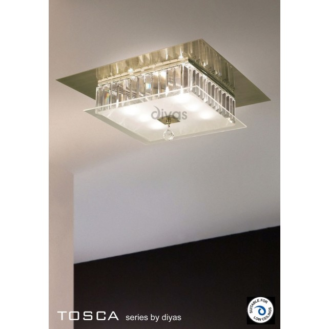 Diyas Tosca Ceiling Square 6 Light Antique Brass/Crystal
