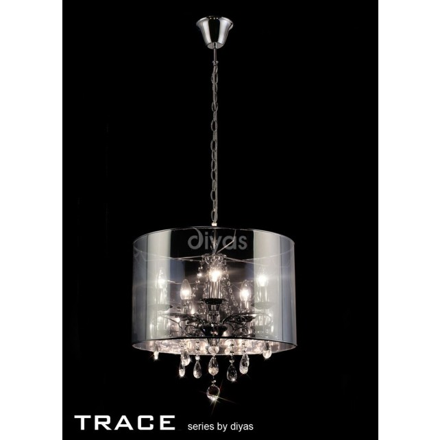 Diyas Trace Pendant 5 Light Polished Chrome/PVC /Crystal