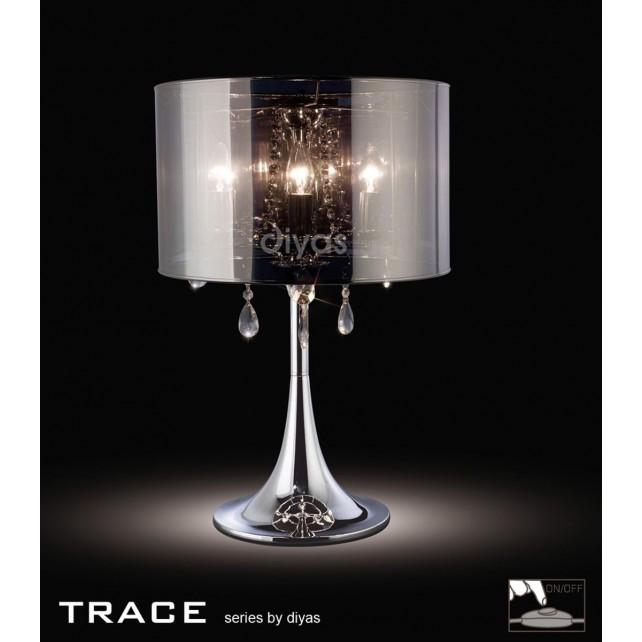 Diyas Trace Table Lamp 3 Light Polished Chrome/PVC /Crystal