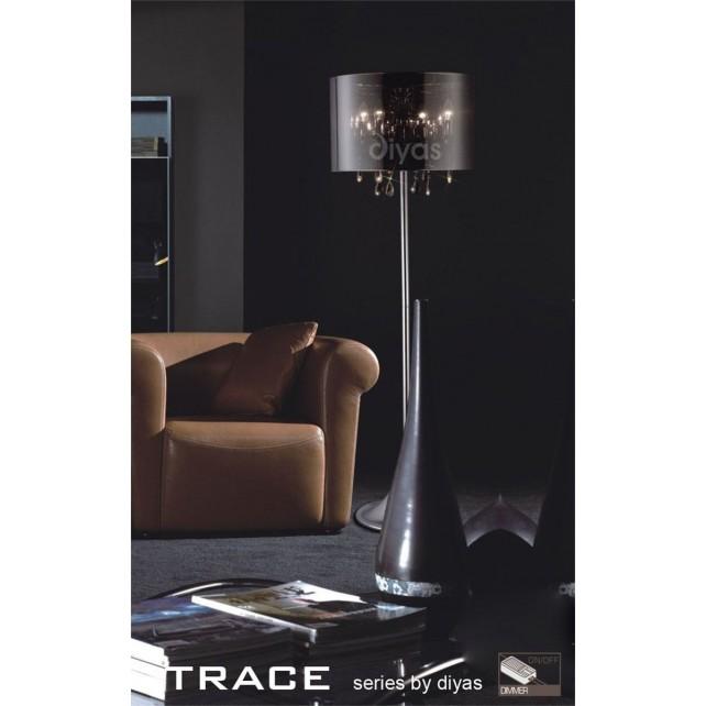 Diyas Trace Floor Lamp 4 Light Polished Chrome/PVC /Crystal