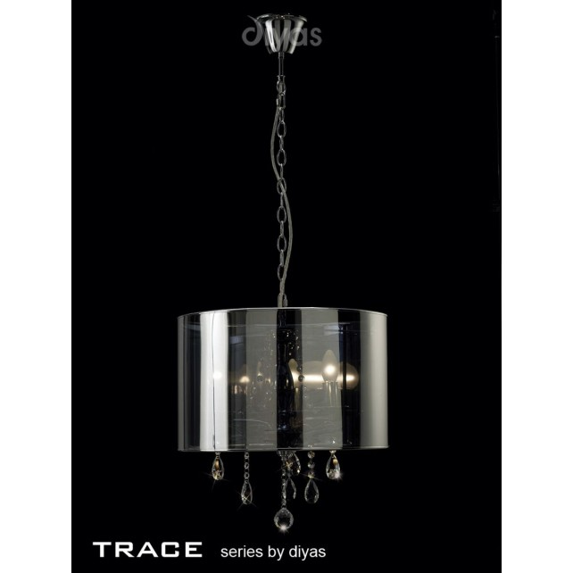 Diyas Trace Pendant 3 Light Polished Chrome/PVC /Crystal