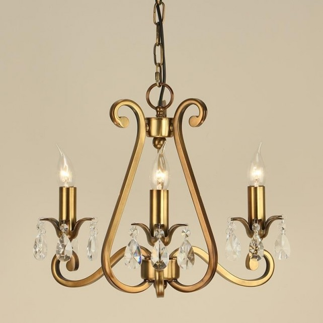 Interiors1900 Oksana 3-Light Chandelier in Brass