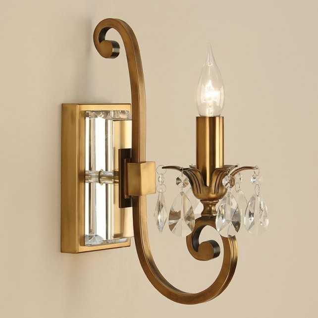 Interiors1900 Oksana Single Wall Light in Antique Brass