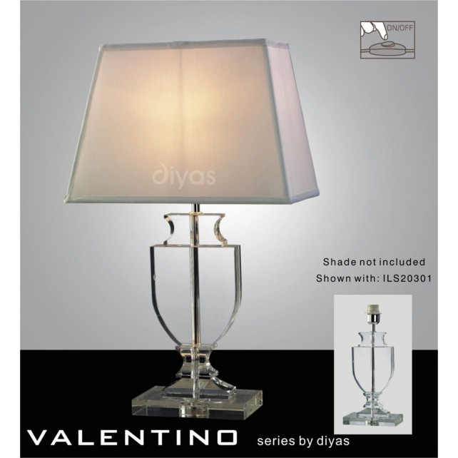 Diyas Valentino Table Lamp 1 Light Polished Chrome/Crystal